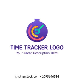 Time tracker logo flat design vector illustration.  The clock of the circle shape with the lines and wrench. The grearest concept for mobile app logo. Gradient modern colors.