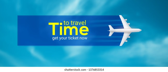 Time to travel. Air transport between countries and continents. Get your ticket now. Realistic icon of airplane on background of blue sky. Vector 3d illustration for touristic and travel agency