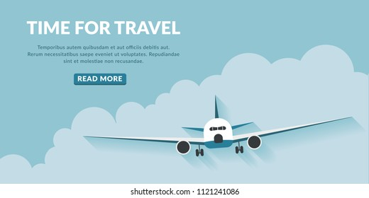 Time to travel with airplane and cloud. Travel concept background with button.