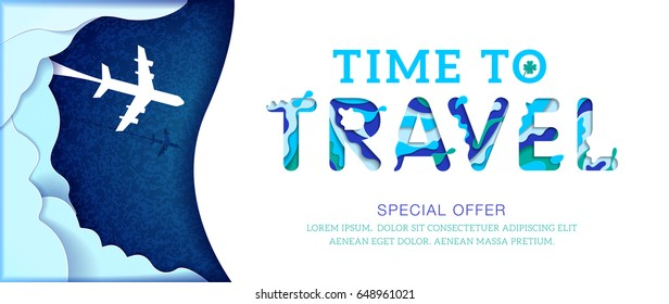Time to travel banner with blue abstract paper cut shapes, special offer. Vector illustration.