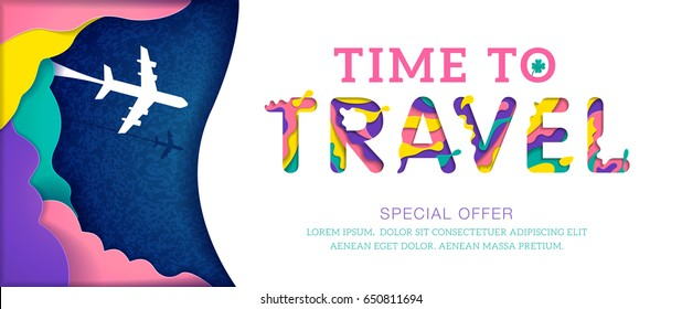 Time to travel banner with colorful abstract paper cut shapes, special offer. Vector illustration.