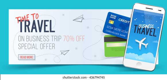 Time to travel banner with special offer on business trip, white smartphone and credit cards. 70% off.