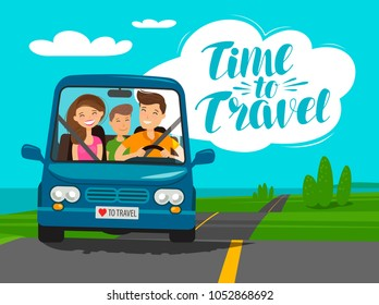 Time to travel, concept. Happy family rides car on journey. Cartoon vector illustration