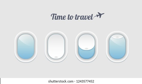 Time to travel concept with realistic portholes . Vector airplane windows inside view. Aircraft open and closed window template.