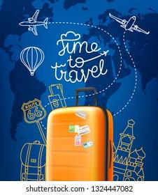 Time to travel concept. Vector illustration with red orange handbag