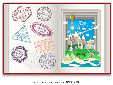 Time to travel concept vector illustration with international travel visa stamps. Arrival and departure sign rubber stamps.