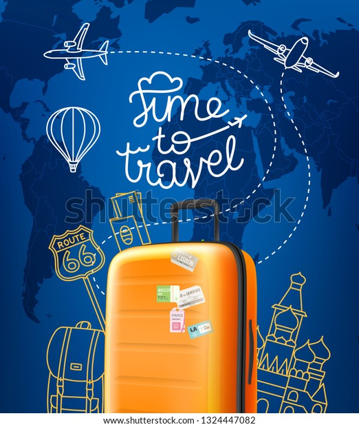 Time to travel concept. Vector illustration with red orange handbag