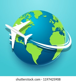 Time to travel explore the world with airplane