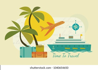 Time to travel icons. Flat tourism trip symbol collection. Ocean liner cruise tour. Seaside leisure resort. Airplane flight to seashore advertisement banner background. Vector retro color illustration