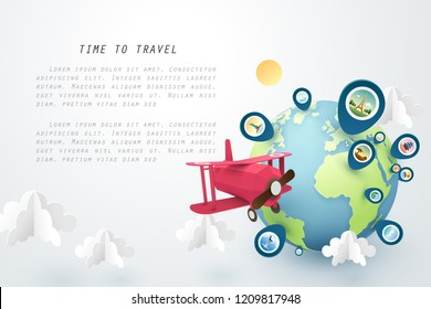 Time to travel, Paper art of red airplane fly around the world and pinned landmarks, vector art and illustration.