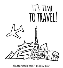 Its Time To Travel Plane Travel Landmark Background Vector Image