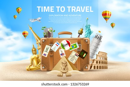 Time to travel poster. Vector best tours promotion, travelling and tourism banner with vintage travel bag on sand, famous landmarks on sky background with air balloons. Pyramids, sphinx, eiffel tower