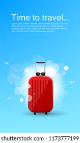 Time to travel. Red glossy suitcase with wheels. Travel banner concept.