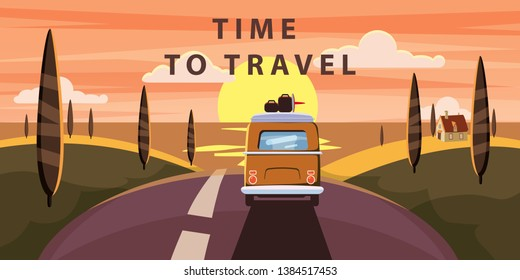 Time to travel. Sunset Van camper, bus on the road goes to the sea for a summer vacation. Holiday season vacation at sea. Travel leisure background. Template banner advertising, retro, vintage. Vector