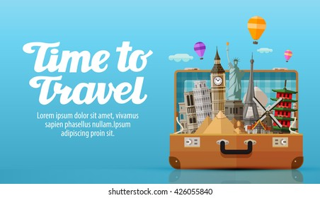 time to travel. vacation. vector illustration