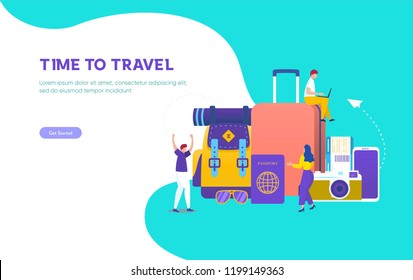 Time to travel vector concept illustration, people travel around the world, can use for, landing page, template, ui, web, mobile app, poster, banner, flyer