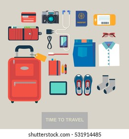 Time to travel vector flat background