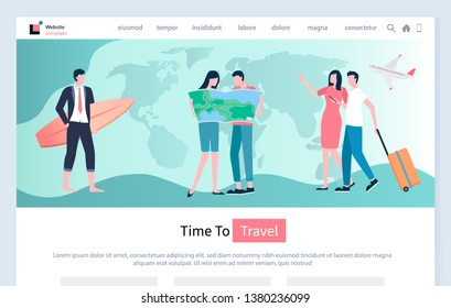 Time to travel vector, relaxed people couple looking at map, man and woman traveling on holidays and spending time together. Arrivals pair with baggage. Website for travel agency, landing page flat