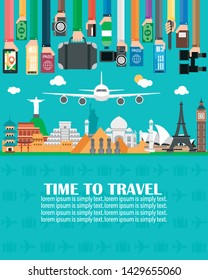 Time to travel,around the world.Lorem ipsum is simply text.Vector illustration