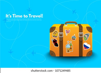 It's Time to Travel.Travel bag, Suitcase with stickers. Travel to World Cup football. Vacation. Tourism. Travel banner. Journey. Travelling illustration. Modern flat design. EPS 10. Colorful.