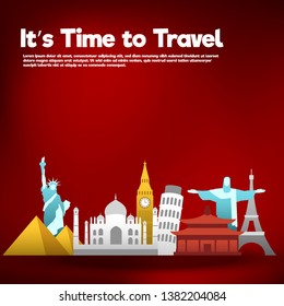 It's Time to Travel.Travel banner.Modern flat design. EPS 10. Colorful.