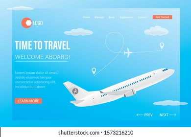 Time to travel,welcome aboard- landing page template. White airplane takeoff in sky. Travel and vacation banner for web. Departure aircraft. Route with pointers. Flat vector illustration