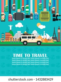 Time to travel,with SUV,around the world.Lorem ipsum is simply text.Vector illustration