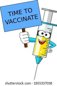 Zeit zum Impfen Lächelnde Cartoon-Zeichen-Maskottchen Medizinspritze Impfstoff Banner Vektorgrafik einzeln