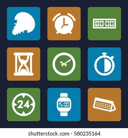 Time vector icons. Set of 9 Time filled icons such as wall clock, wrist dial watch, calendar, 24 hour, hourglass, digital clock, alarm, stopwatch