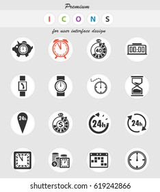 time vector icons for user interface design