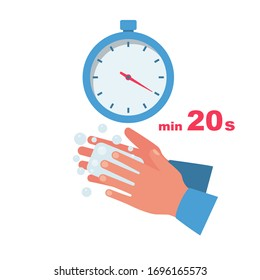 Time wash hands. Stopwatch with a minimum time of 20 seconds. Soap in hand in soap bubbles. Vector illustration flat design. Personal hygiene. Disinfection, skin care. Antibacterial washing.