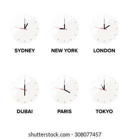 Time zone clocks vector. Sydney, New York, London, Dubai, Paris and Tokyo clocks vector.