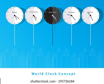 Time Zone World Concept.Vector Design.