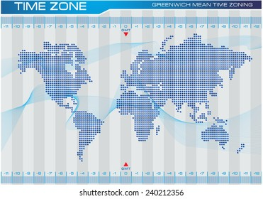 time zone and world map illustration, for internet content, brochure, poster. easy to modify
