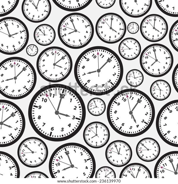 Time Zones Black White Clock Seamless Stock Vector
