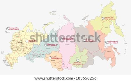 Time Zones In Russia Map.Time Zones Russia Map Stock Vector Royalty Free 183658256