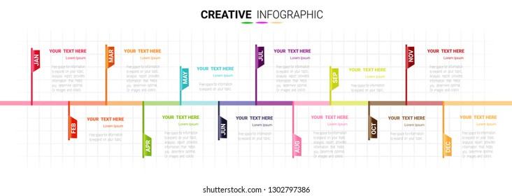 Timeline 1 year, 12 months, Timeline infographics design vector 12 steps and Presentation business can be used for Business concept with 12 options, steps or processes.