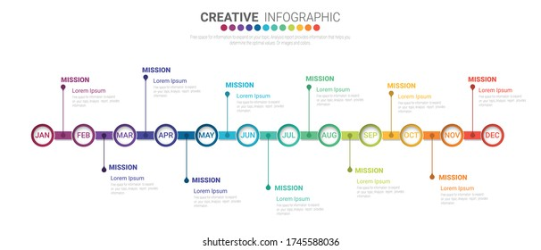 Timeline for 1 year, 12 months, infographics month planner design vector 12 steps and Presentation business can be used for Business concept with 12 options, steps or processes.