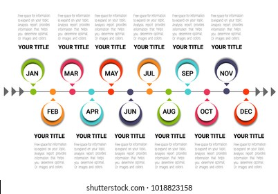 Timeline for 12 months, 1 year, Timeline infographics design vector and Presentation business can be used for  steps or processes.