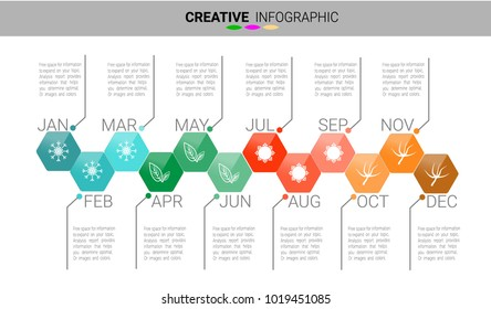 Timeline for 12 months, 1 year, Timeline infographics design vector and icon season, Presentation business can be used for Business concept with 12 options, steps or processes.