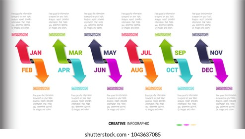 Timeline for 12 months arrow shape, 1 year, Timeline infographics design vector and Presentation business can be used for Business concept with 12 options, steps or processes.