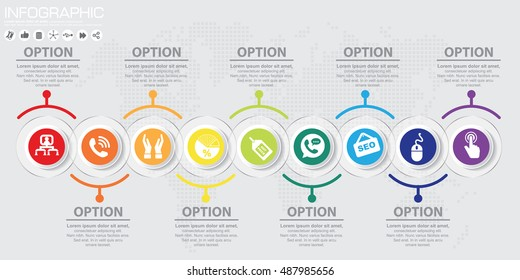 Timeline 9 options or steps vector infographic. World map Background