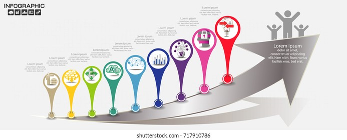 Timeline arrow infographics design template with 10 options, process diagram, vector eps10 illustration