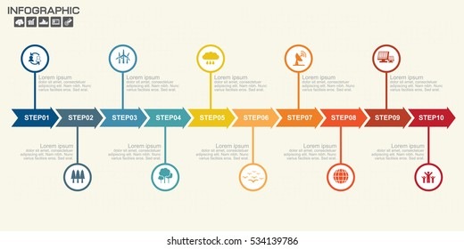 Timeline Arrow Infographics template 10 options. Isolated design elements. Vector illustration.