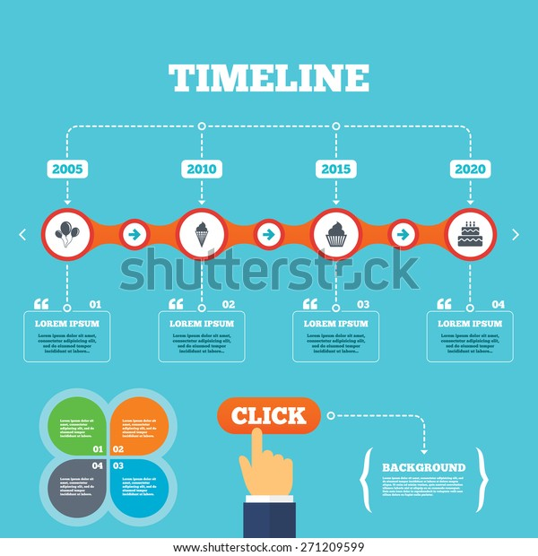 timeline arrows quotes birthday party icons stock vector royalty