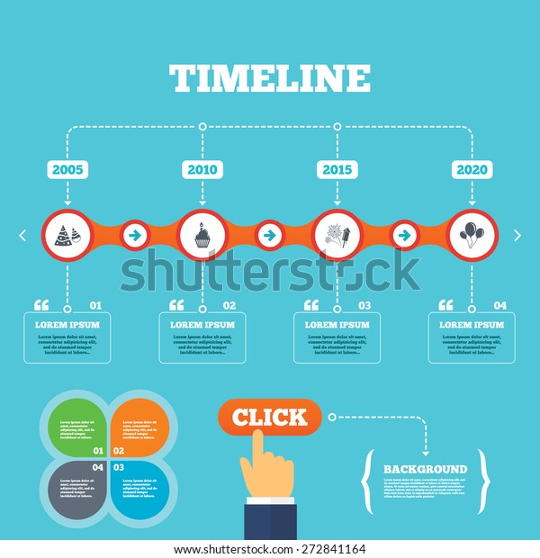 Timeline Arrows Quotes Birthday Party Icons Stock Vector ...