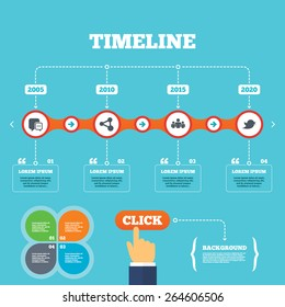 Timeline with arrows and quotes. Social media icons. Chat speech bubble and Bird chick symbols. Human group sign. Four options steps. Click hand. Vector