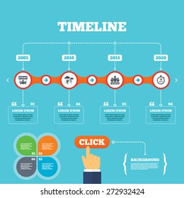 Timeline with arrows and quotes. Strike icon. Storm bad weather and group of people signs. Delayed flight symbol. Four options steps. Click hand. Vector
