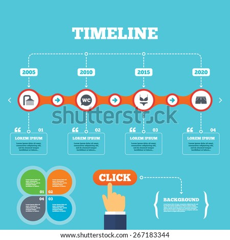 Timeline Arrows Quotes Swimming Pool Icons Stock Vector Royalty