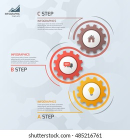 Timeline business infographic template with gears cogwheels 3 steps, processes, parts, options. Vector illustration.